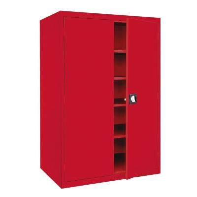 Elite Series 78 in. H x 46 in. W x 24 in. D 5-Shelf Steel Recessed Handle Storage Cabinet in Red