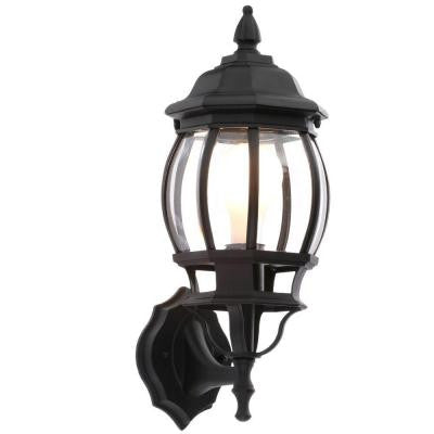 1-Light Black Outdoor Small Wall Lantern
