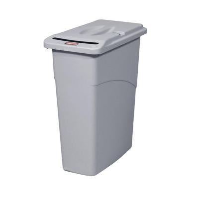 Slim Jim 23 Gal. Grey Confidential Document Trash Can with Lid