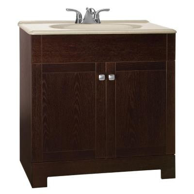 Renditions 31 in. W Vanity in Java Oak with Solid Surface Vanity Top in Wheat
