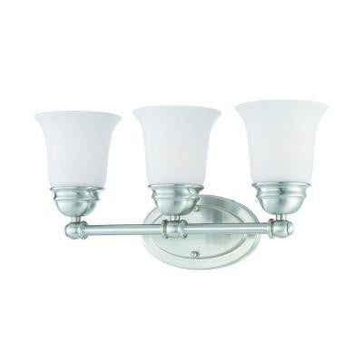Bella 3-Light Brushed Nickel Bath Light with Etched Glass Shade