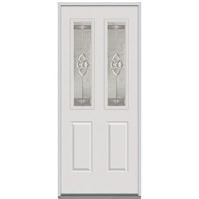 36 in. x 80 in. Master Nouveau Decorative Glass 2 Lite 2-Panel Primed White Steel Replacement Prehung Front Door