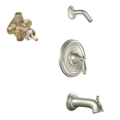 Brantford 1-Handle Posi-Temp Tub and Shower Faucet Trim Kit in Brushed Nickel - Valve Included