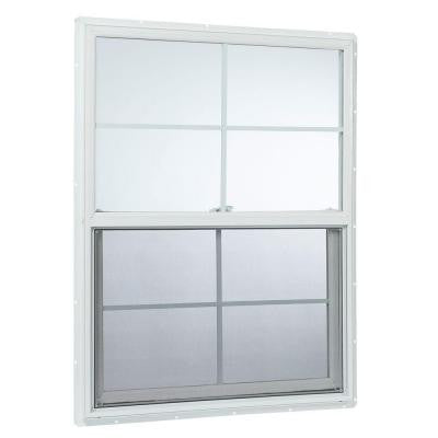 35.25 in. x 59.25 in. 25000 Series Single Hung Vinyl Window Insulated with Grids