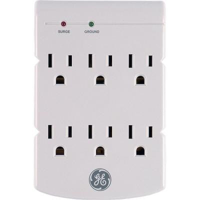 6-Outlet Surge Protector In Wall 312 Joules - Grey