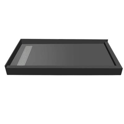 48 in. x 72 in. Double Threshold Shower Base with Left Drain and Brushed Nickel Trench Grate