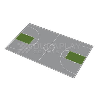 51 ft. x 83 ft. 11 in. Gray and Slate Green Full Court Basketball Kit