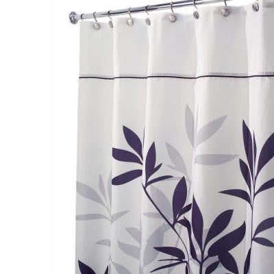 Leaves Long Shower Curtain in Black and Gray