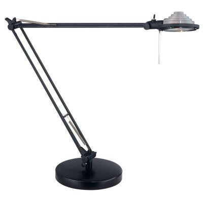 Designer Collection 29.5 in. Black Desk Lamp with Black Plastic Shade