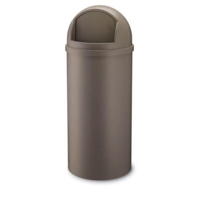 Marshal 15 Gal. Brown Classic Round Top Trash Can