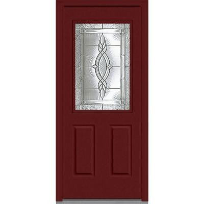 32 in. x 80 in. Brentwood Decorative Glass 1/2 Lite 2-Panel Painted Fiberglass Smooth Prehung Front Door