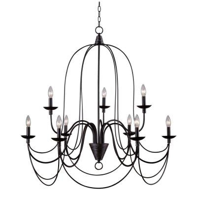 Pannier 9-Light Oil Rubbed Bronze with Silver Highlights Chandelier