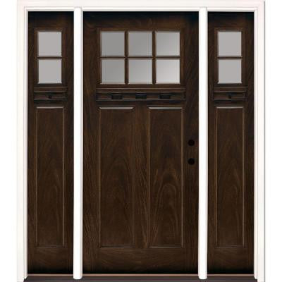 63.5 in. x 81.625 in. 6 Lite Clear Craftsman Stained Chestnut Mahogany Fiberglass Prehung Front Door with Sidelites