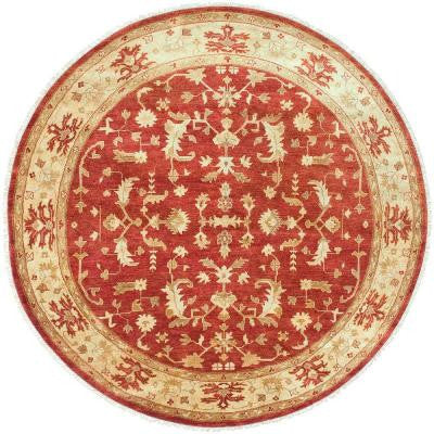 Burwell Red 8 ft. Round Area Rug
