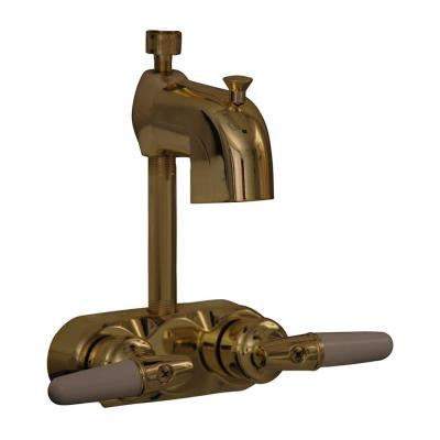 Metal Lever 2-Handle Claw Foot Tub Faucet with Diverter in Polished Brass