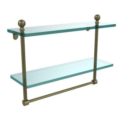 Mambo Collection 5 in. W x 16 in. L 2-Tiered Glass Shelf with Integrated Towel Bar in Antique Brass