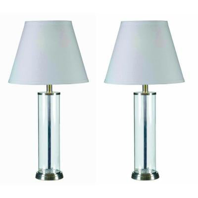 Echo 28 in. Glass Table Lamp Set (2-Pack)