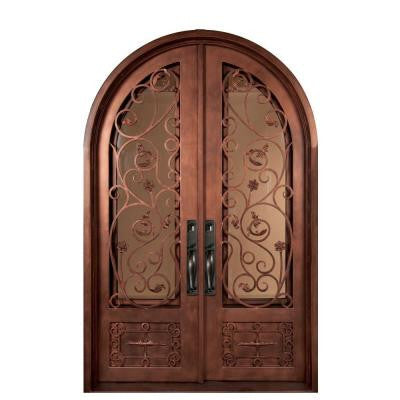 62 in. x 98 in. Fero Fiore Classic 3/4 Lite Painted Bronze Decorative Wrought Iron Prehung Front Door