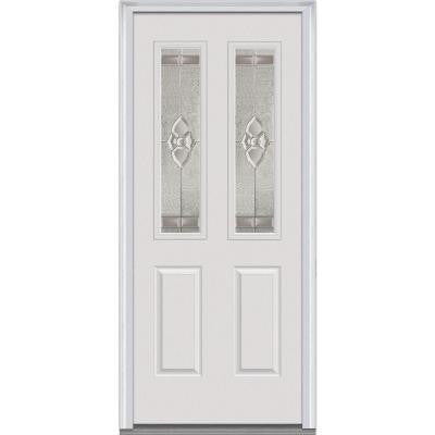 32 in. x 80 in. Master Nouveau Decorative Glass 2 Lite 2-Panel Primed White Steel Prehung Front Door