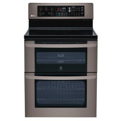 6.7 cu. ft. Double Oven Electric Range with EasyClean, Convection in Lower Oven in Black Stainless Steel