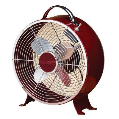 10 in. Merlot Retro Metal Box Table Fan