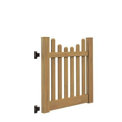 Kettle Scallop 4 ft. x 4 ft. Cypress Vinyl Un-Assembled Fence Gate