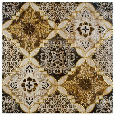 Dana Toja Decor 17-3/4 in. x 17-3/4 in. Ceramic Floor and Wall Decor Tile