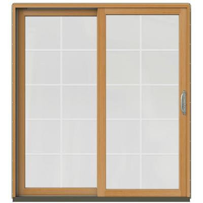 71-1/4 in. x 79-1/2 in. W-2500 Desert Sand Prehung Left-Hand Clad-Wood Sliding Patio Door with 10-Lite Grids