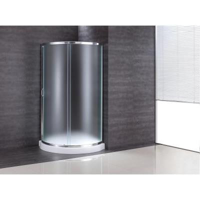 34 in. x 34 in. x 76 in. Shower Kit with Intimacy Glass, Shower Base in White
