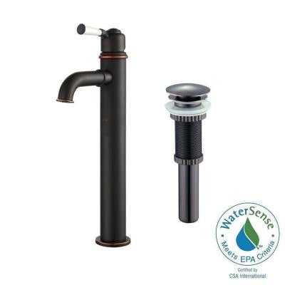 Solinder Single Hole Single-Handle Vessel Bathroom Faucet with Matching Pop-Up Drain in Oil Rubbed Bronze