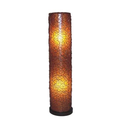 Paris 57 in. Amber Brown Round Floor Lamp with Natural Rattan Accent