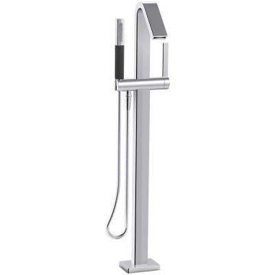 Loure 1-Handle Floor Mount Bath Filler with Handshower in Polished Chrome