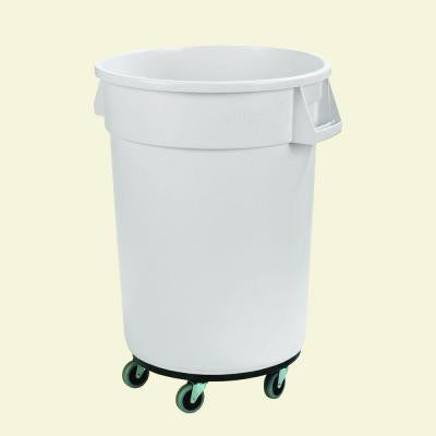 Bronco 32 Gal. White Round Trash Can with Dolly (4-Pack)