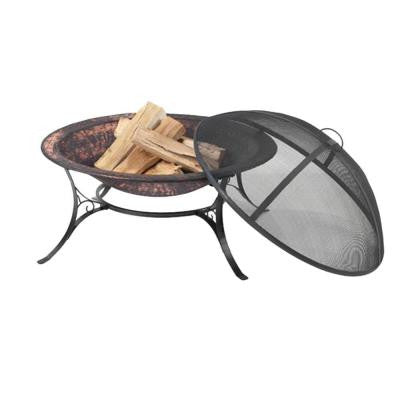 30 in. Wrought Iron and Steel Fire Pit with Spark Screen