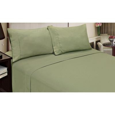 Jill Morgan Fashion Solid Sage Microfiber Full Sheet Set (4-Piece)