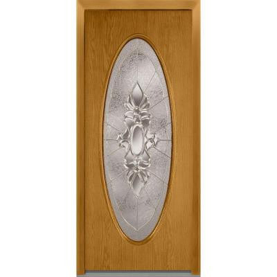 36 in. x 80 in. Heirloom Master Decorative Glass Full Oval Lite Finished Oak Fiberglass Prehung Front Door