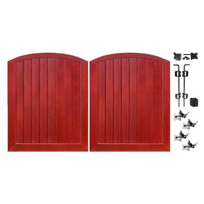 Pro Series 5 ft. x 6 ft. Cherry Vinyl Anaheim Privacy Double Drive Through Arched Fence Gate