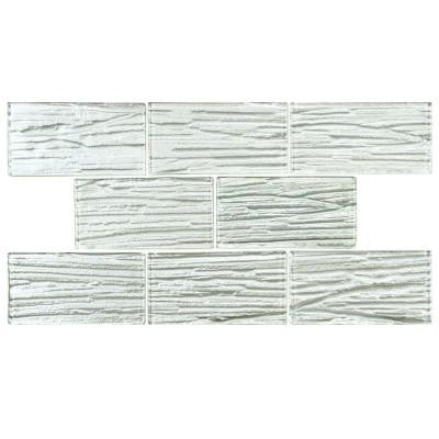 Aspen Subway White 3 in. x 6 in. x 5 mm Glass Wall Tile (1 sq. ft. / pack)