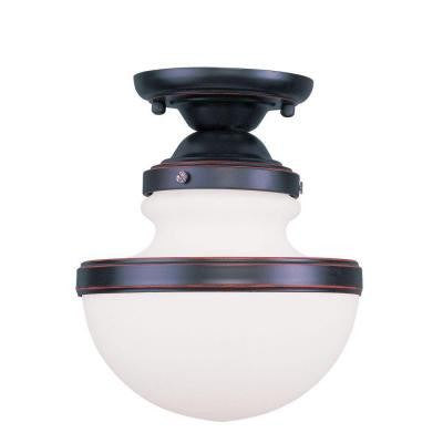 Providence 1-Light Ceiling Olde Bronze Incandescent Semi-Flush Mount
