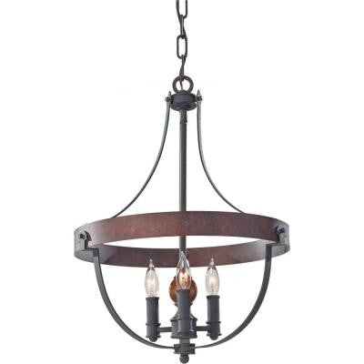 Alston 3-Light Charcoal Brick/Acorn 1-Tier Chandelier