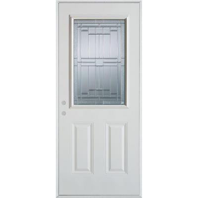 32 in. x 80 in. Architectural 1/2 Lite 2-Panel Prefinished White Steel Prehung Front Door