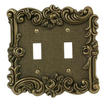 Provincial 2 Toggle Wall Plate - Antique Brass