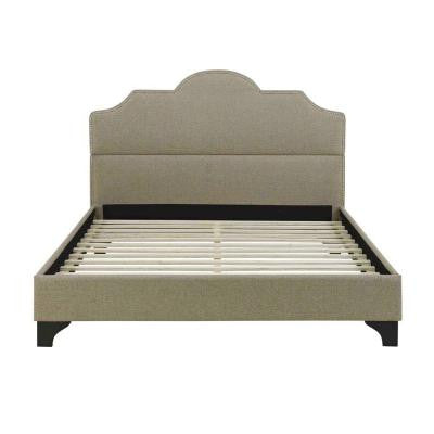 Antioch Textured Linen Twin-Size Platform Bed in Taupe