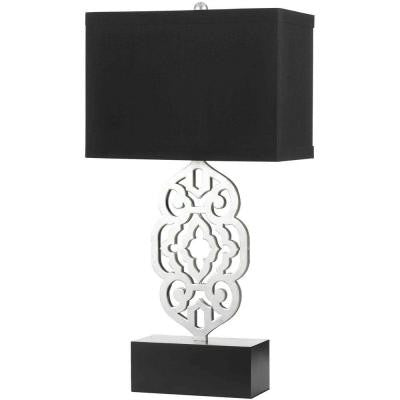 Grill 31 in. Silver Foil Table Lamp with Black Hardback Shade