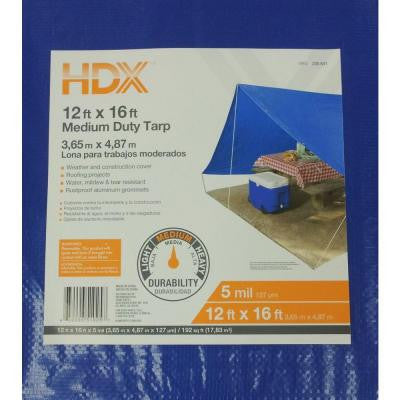 12 ft. x 16 ft. Blue Medium Duty General Purpose Tarp