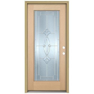 36 in. x 80 in. Champagne Full Lite Unfinished Hemlock Wood Prehung Front Door with Brickmould and Zinc Caming