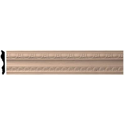 4 in. x 96 in. x 5-1/2 in. Unfinished Cherry Bedford Carved Wood Crown Moulding