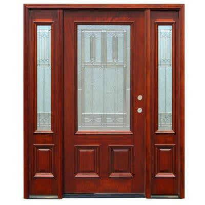 70in.x80in. Traditional 3/4 Lite Stained Mahogany Wood Prehung Front Door w/6in. Wall Series and 14in. Sidelites