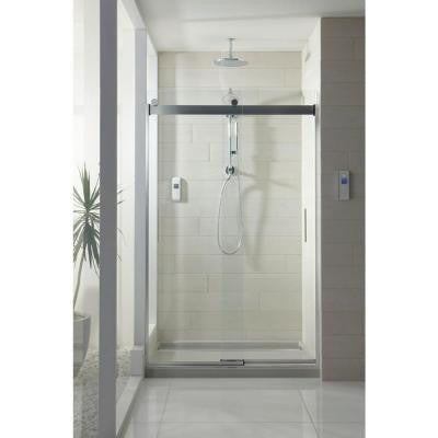 Levity 47-5/8 in. x 74 in. Semi-Framed Bypass Shower Door with Handle in Silver