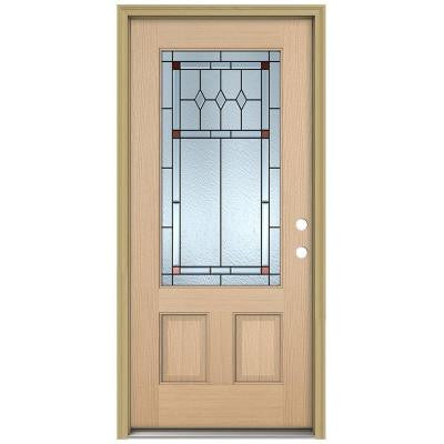 36 in. x 80 in. Ashmore 3/4 Lite Unfinished Hemlock Wood Prehung Front Door with Brickmould and Patina Caming